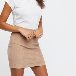 Modern femme cord mini skirt taupe free people 0